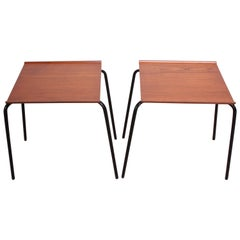 Pair of Danish Teak and Metal 'Stacking Tables' Attributed to Fritz Hansen