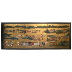 "Japanese Edo Period six Panel Screen ""Gion Festival"", Tosa School"
