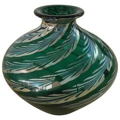 Mid Century Modern Correia Iridescent Emerald Green with Swirl Art Glass Vase