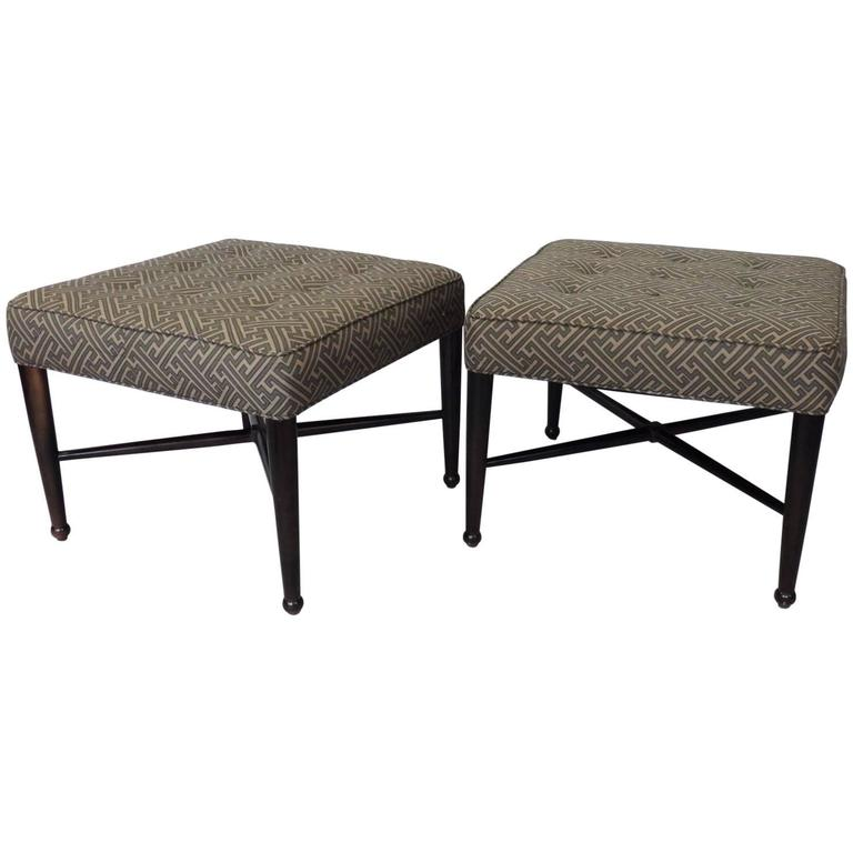 Pair of Square Ottomans in the Style of Edward Wormley for Dunbar