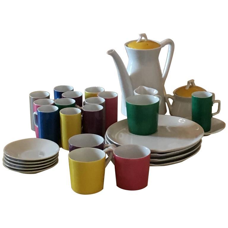 Mid-Century Modern Metasco Porcelain Coffee, Tea & Dessert Service