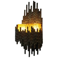 Marcello Fantoni Brutalist Metal Sculptured Wall Lamp, Italy