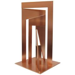 """Signed One-of-a-Kind Solid Copper Sculpture by Georgesco Entitled """"Generator"""""""
