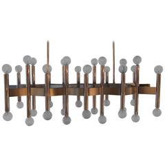 Gaetano Sciolari Chrome and Steel Thirty Six Light Multi-Arm Chandelier