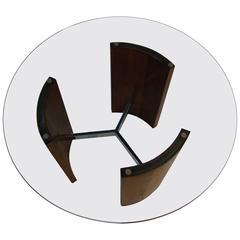 Vladimir Kagan Chrome Walnut and Glass Radius Table