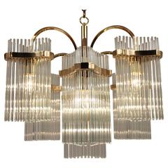 Massive Cascading Sciolari Seven Arms Glass Rods & Brass Chandelier, 1960s Italy