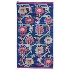 Old Tibetan Floral Scatter Rug Khaden with Ming Peony All-Over Design