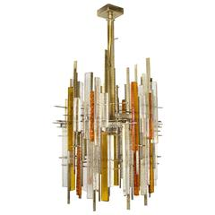 Large Poliarte Brutalist Chandelier, circa 1960, Italy