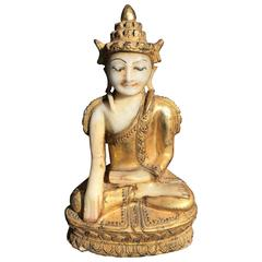 Beautiful Hand made and hand carved Gold Gilt Stone Buddha, 19th Century