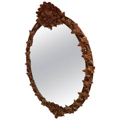 Antique Oval Gold Leaf Mirror