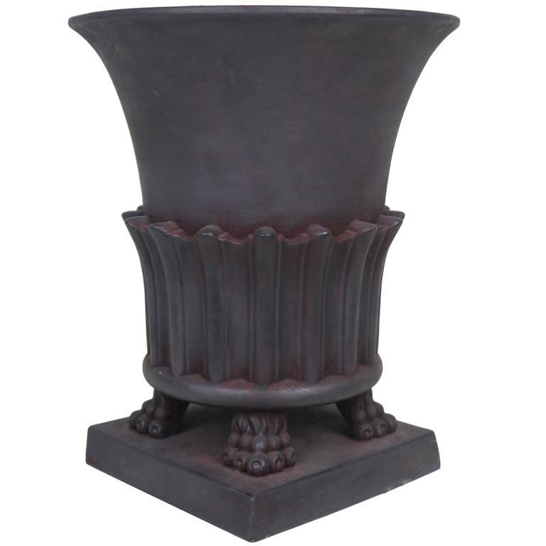 Large Black Greco-Roman Style Terra cotta Classic Urn 1950s