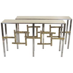 Pair of Italian Chrome and Brass Sculptural Consoles