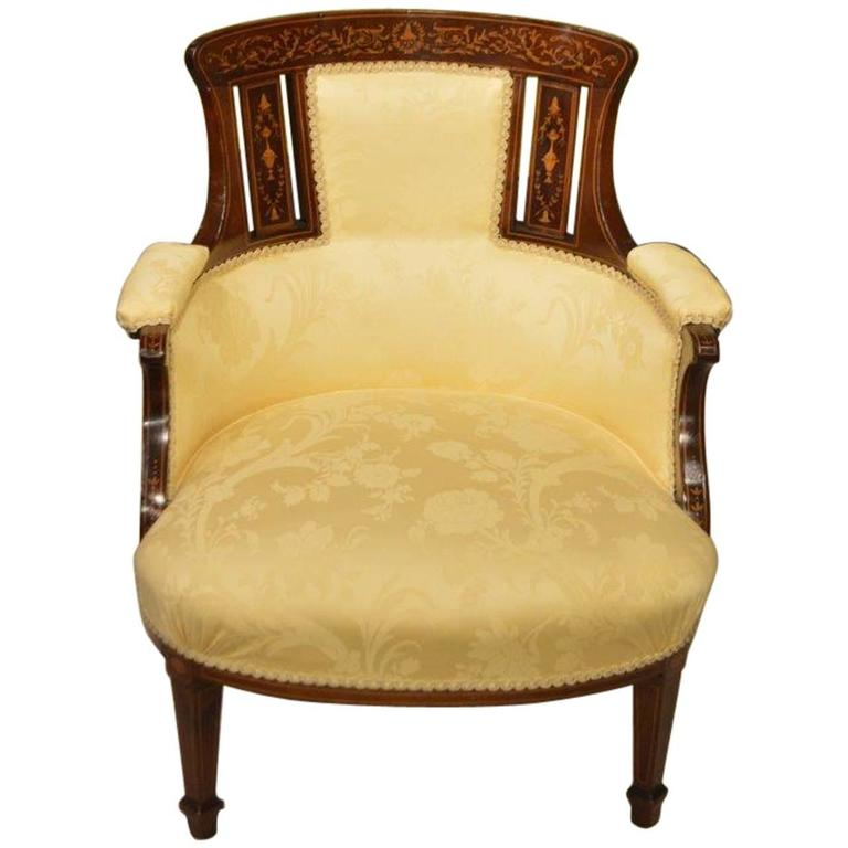 Mahogany and Marquetry Inlaid Edwardian Period Antique Tub Chair For Sale - Mahogany And Marquetry Inlaid Edwardian Period Antique Tub Chair At