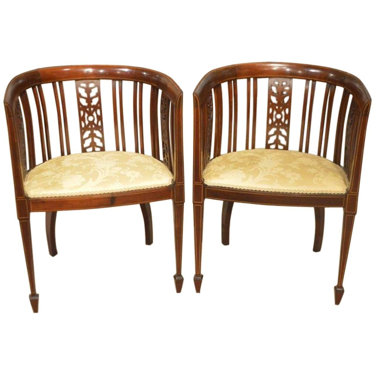 Pair Of Mahogany Inlaid Edwardian Period Antique Bedroom Chairs At 1stdibs