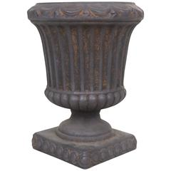 1950's Large Fluted Urn Cachepot Planter- Classical Style Matte Black