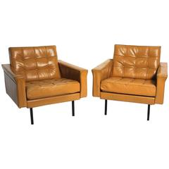 Pair of Leather Club Chairs by Johannes Spalt, Vienna, circa 1959