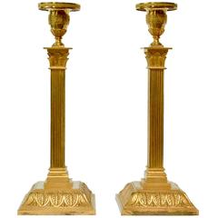 Pair of Empire Gilt Bronze Candlesticks, Possibly Vienna