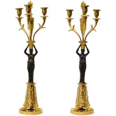 Pair of Empire Gilt Bronze and Patinated Candelabra, Possibly Germany