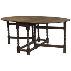 Large 18th Century English Oak Oval Gateleg Dining Table