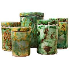 Set of Five, 1930s Italian Hand-Painted and Glazed Ceramic Cylindrical Pots