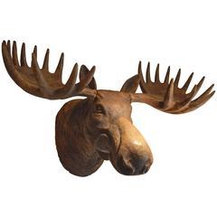 Huge Massive Wood Carved Caribou Head