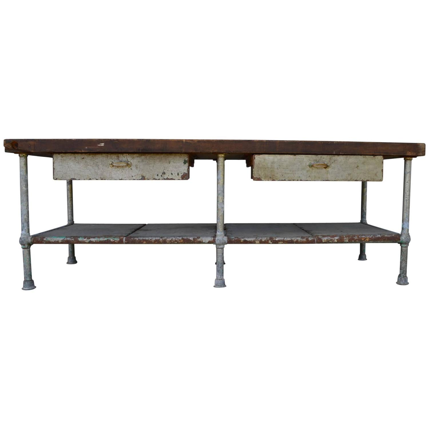 very large industrial butcher block work table at 1stdibs