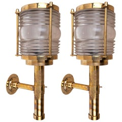 Pair of Ship's Brass Passageway Lights with Fresnel Lens, Midcentury