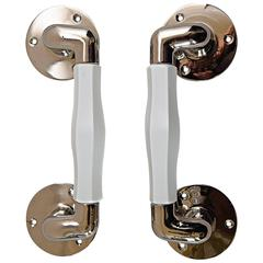 Two Extraordinary Nickel Door Handles with Opal Cut Glass