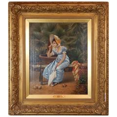 Excellent Quality 19th Century Oil Painting of a Pretty Woman