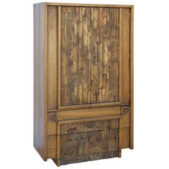 Carved Brutalist Armoire by Lane