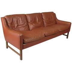 Vintage 1960s Danish Leather and Rosewood Sofa