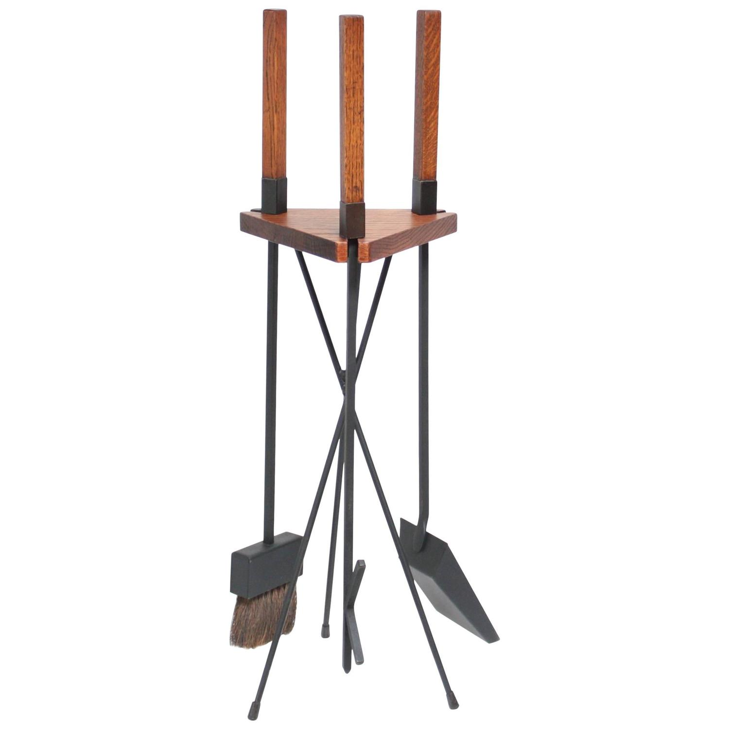 fireplace tools modern - fireplace tool set attributed to seymour at stdibs