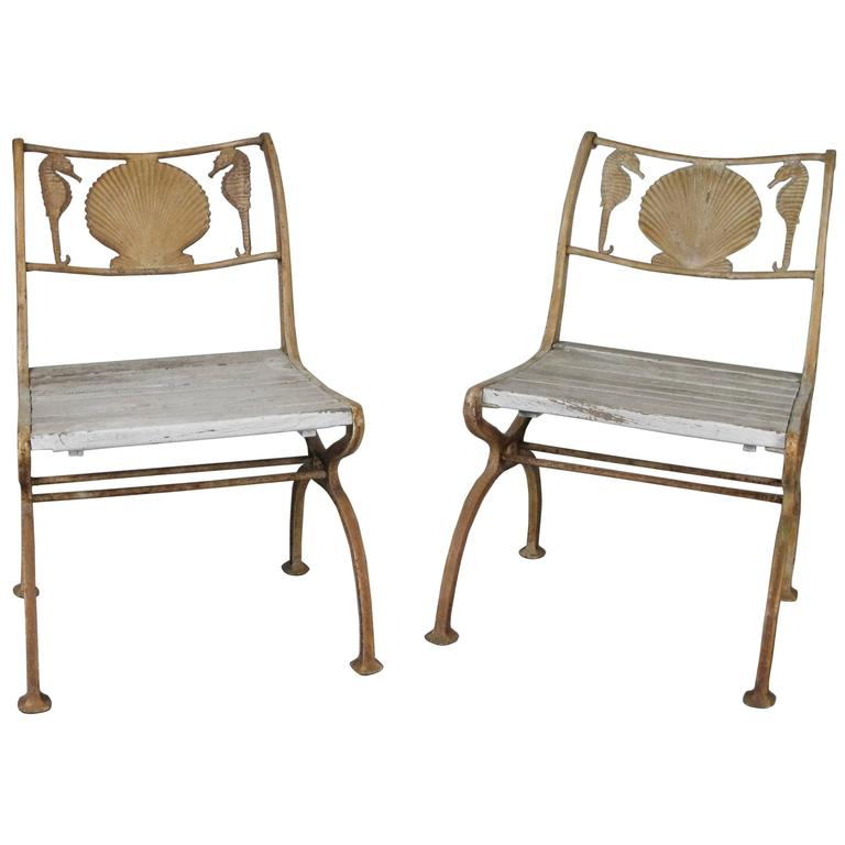 Bon Pair Of Rare 1920s Cast Iron Seashell And Seahorse Chairs For Sale