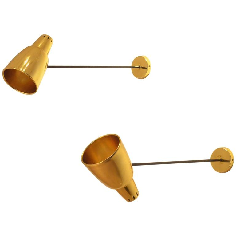 Two French Design Attributed to Luminalite Golden Metal Arm Lamps Sconces