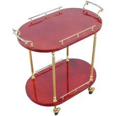 Aldo Tura Bar Cart Oval Red Goatskin