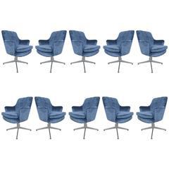 Mid-Century Modern Ward Bennett Armchairs Newly Upholstered, Set of Ten
