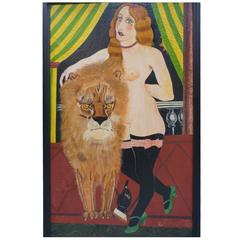 Painting of the 'Lion Tamer after Foujita' Oil on Canvas
