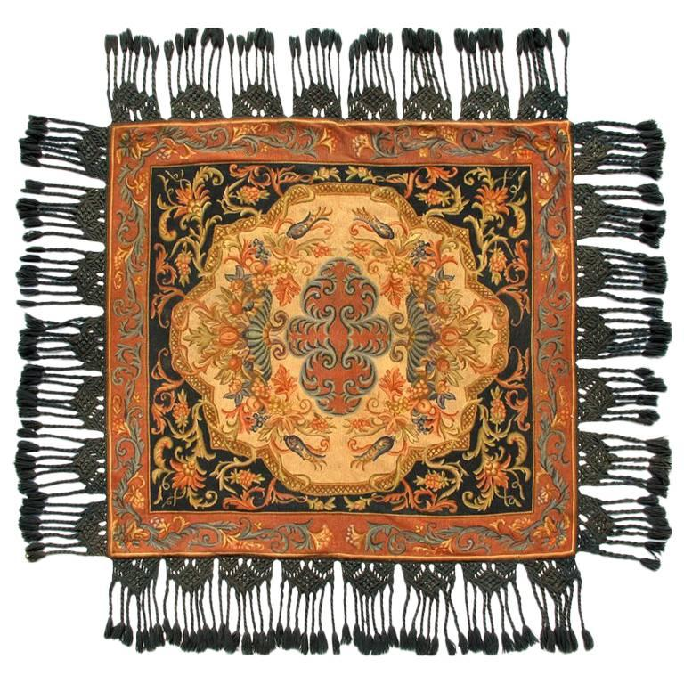 Antique Italian Tapestry with Framed Central Medallion and Fringe