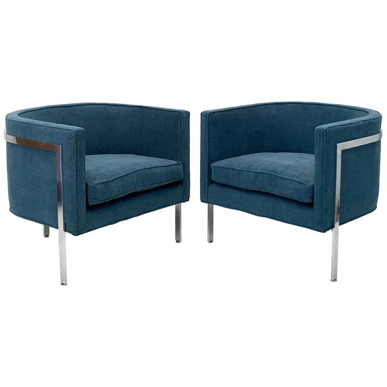 Pair of Signed Harvey Probber Lounge Chairs Model 1347 in Sea Blue