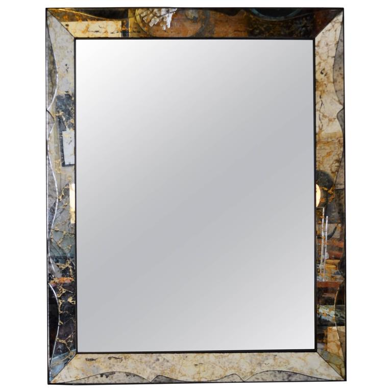 Monumental Venetian Style Smoked Glass Mirror For Sale