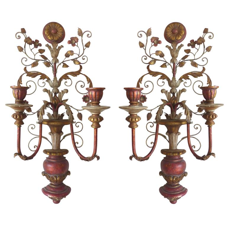 Italian Candle Wall Sconces : Early 20th Century Pair of Antique Italian Tole Original Candle Sconces at 1stdibs