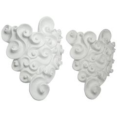 Pair of White Plaster Sconces by Jean Boggio for Les Héritiers, France, 1990s
