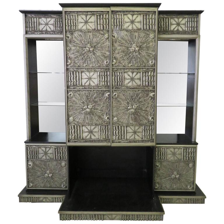 51 Under Cabinet Pull Down Shelves Vintage Under Cabinet: Rare Adrian Pearsall Brutalist Three-Piece Wall Unit Bar