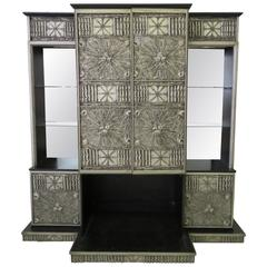Rare Adrian Pearsall Brutalist Three-Piece Wall Unit Bar Stereo Cabinet Speakers