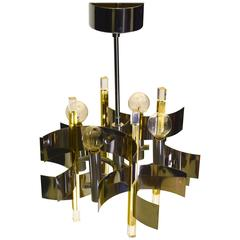 Four-Light Petite Foyer Entry or dining Pendant Chandelier by Gaetano Sciolari