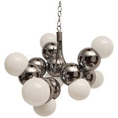 Chrome Ball Molecule Nine-Light Chandelier Attributed to Torino