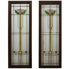 English Tulip Glass Window Panes, circa 1930