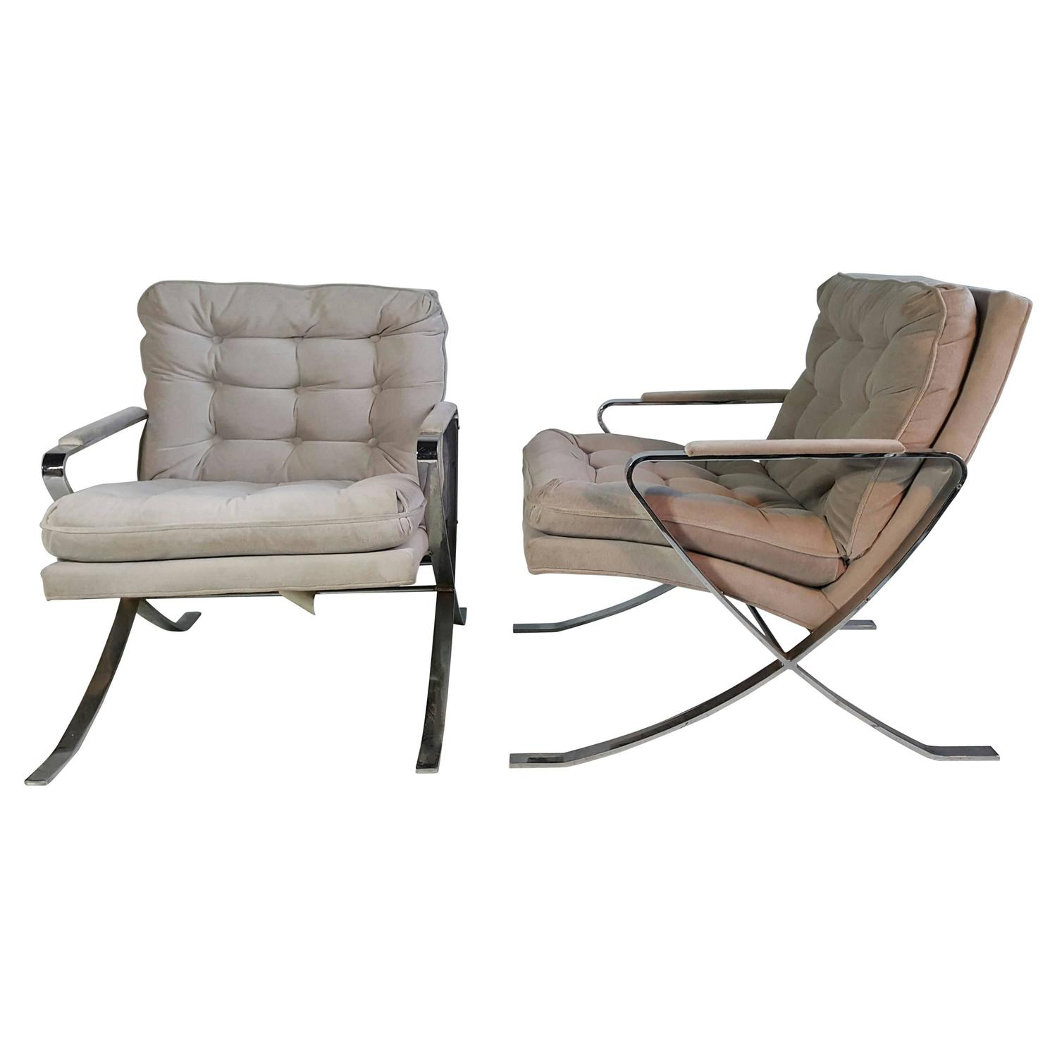 vintage chrome lounge chairs for sale at 1stdibs