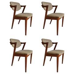 Set of Four Kai Kristiansen, Model 42 Dining Chairs, Made in Denmark