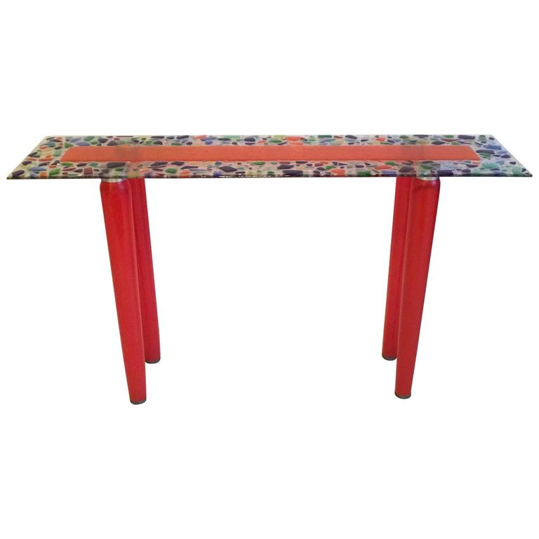 One of a Kind Murano Glass Console Table For Sale